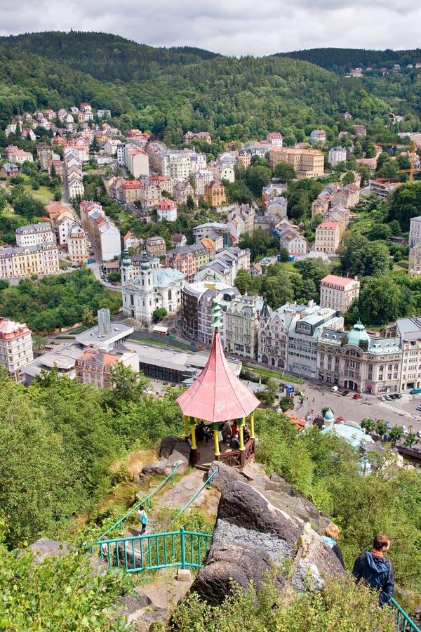 Vue aérienne de ville Karlovy Vary, Bohême occidentale, République Tchèque de station thermale photo libre de droits