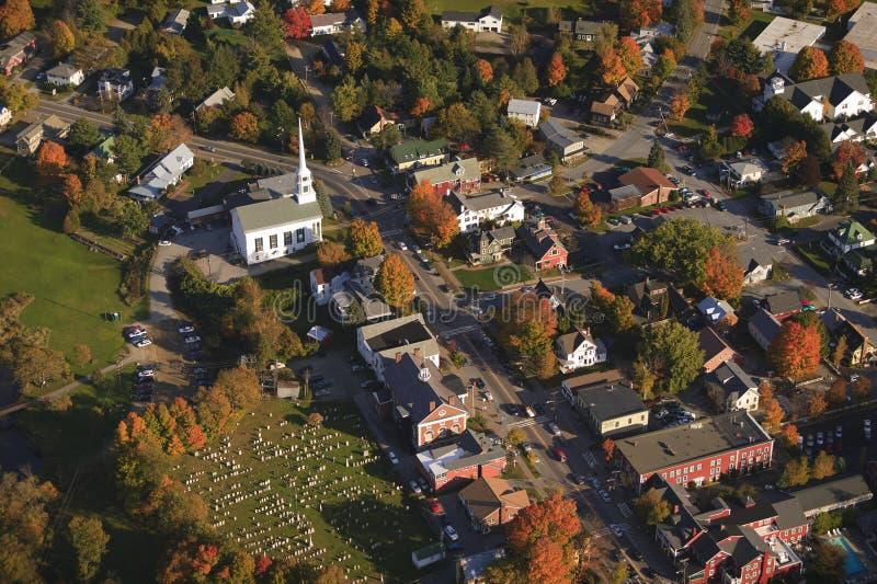 Vue aérienne de ville rurale du Vermont. photo stock