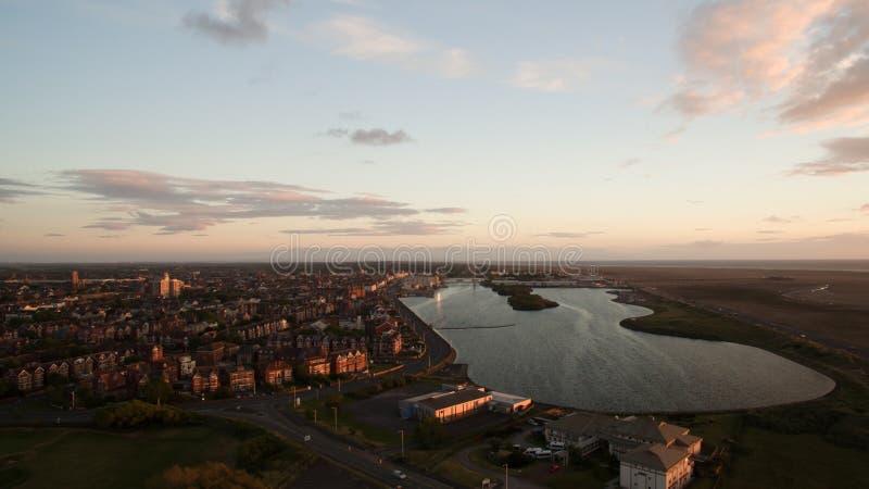Vue aérienne de ville de Southport en Angleterre image libre de droits