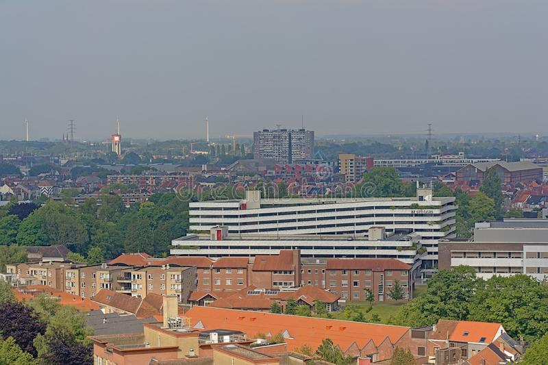 Vue aérienne de voisinage de Rabot à Gand, Flandre, Belgique photos libres de droits