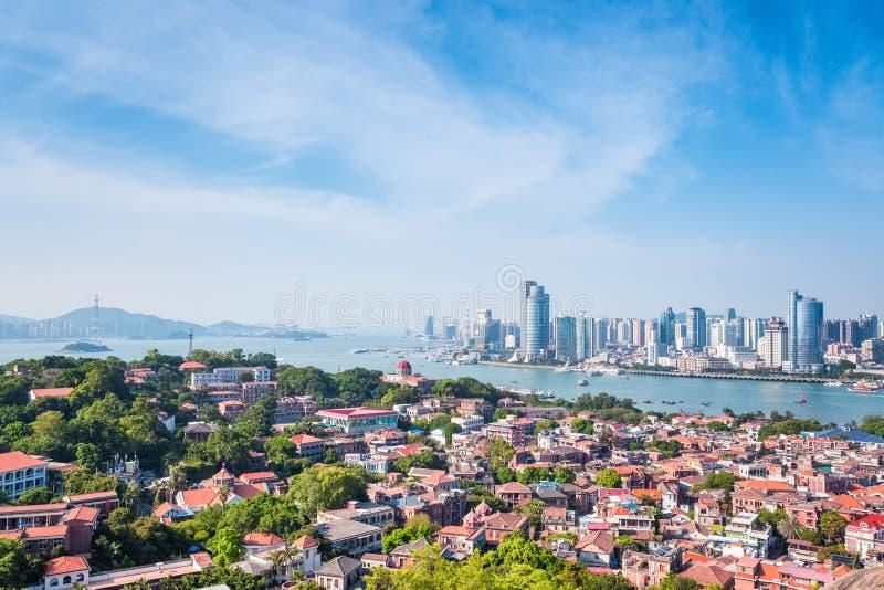 Vue aérienne de Xiamen d'île de gulangyu images libres de droits