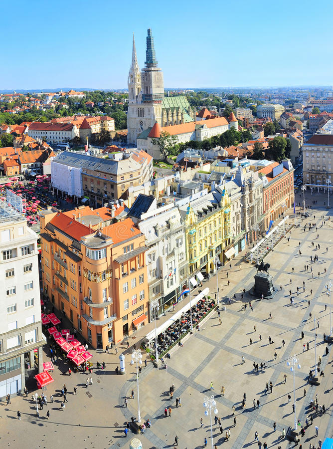 Vue aérienne de Zagreb de croate image stock