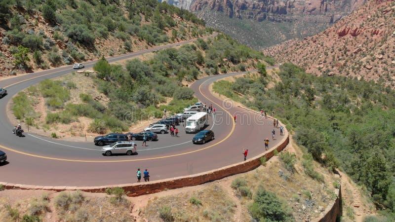 Vue aérienne de Zion National Park de route et de montagnes, Utah photos libres de droits
