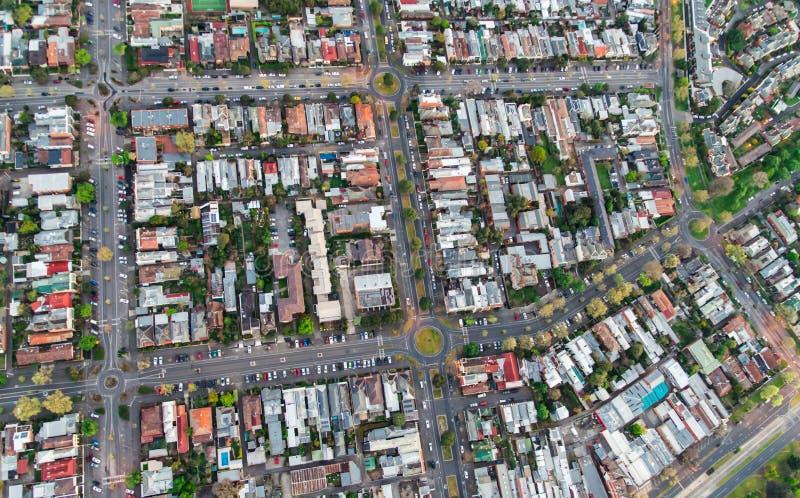 Vue aérienne des banlieues de Melbourne images libres de droits