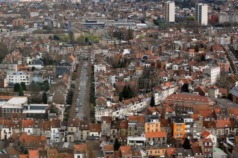 Vue aérienne des constructions de ville à Bruxelles image libre de droits