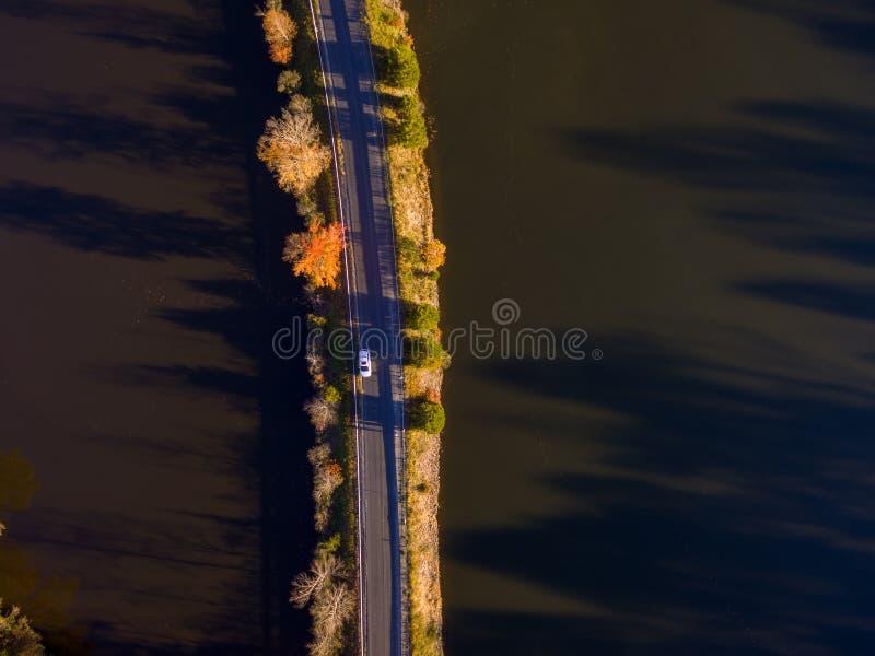 Vue aérienne des feuilles et des couleurs d'automne autour d'un lac images libres de droits