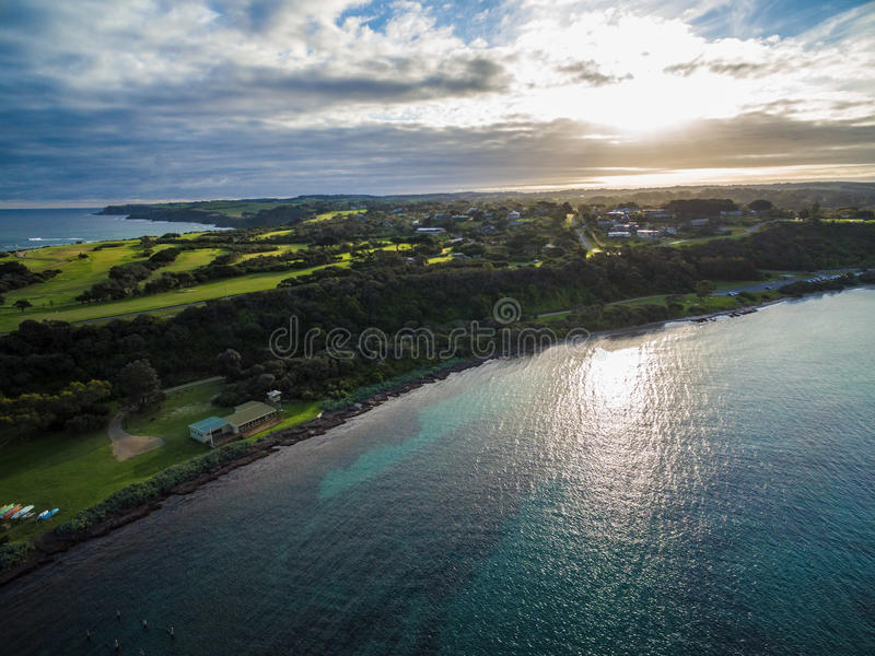 Vue aérienne des lais de Flinders au coucher du soleil, Melbourne, Australi images libres de droits
