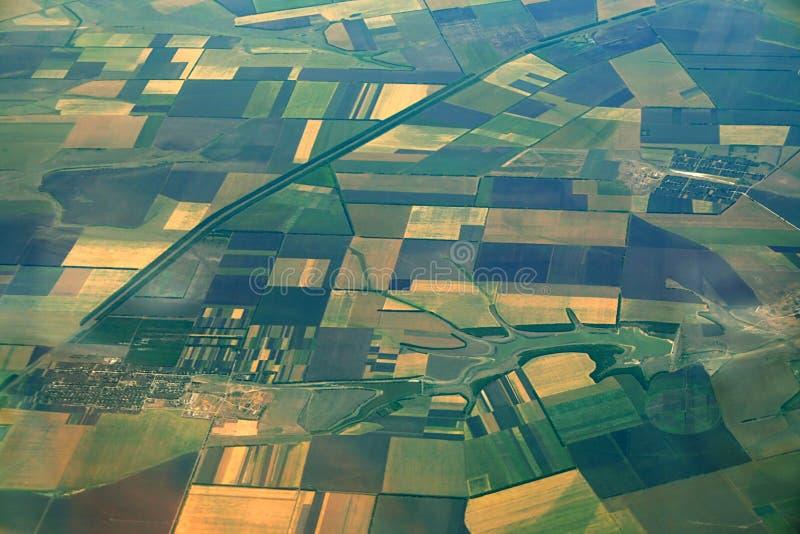 Vue aérienne des terres cultivables images libres de droits