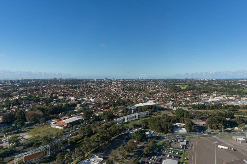 Vue aérienne des voisinages de Sydney, des banlieues de Rosebery et d'Eastlakes image stock