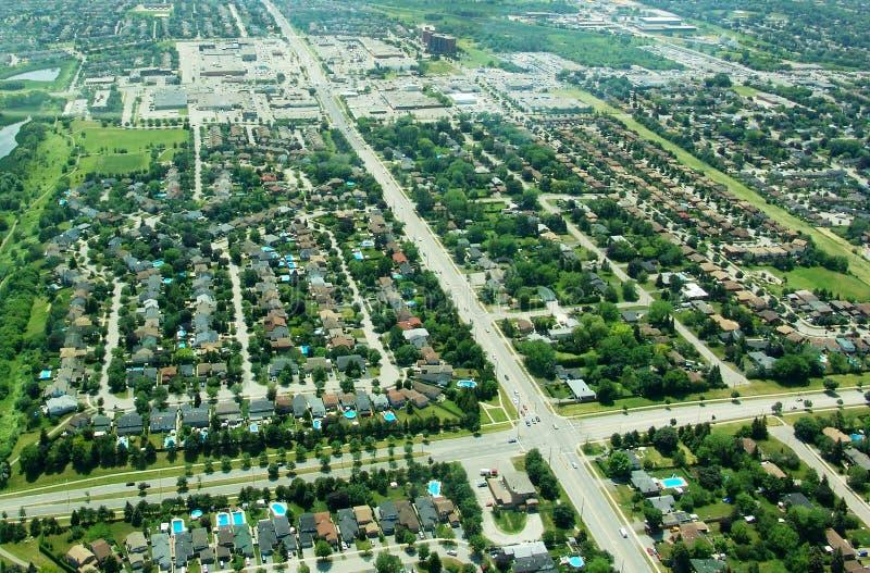 Vue aérienne des zones résidentielles images stock