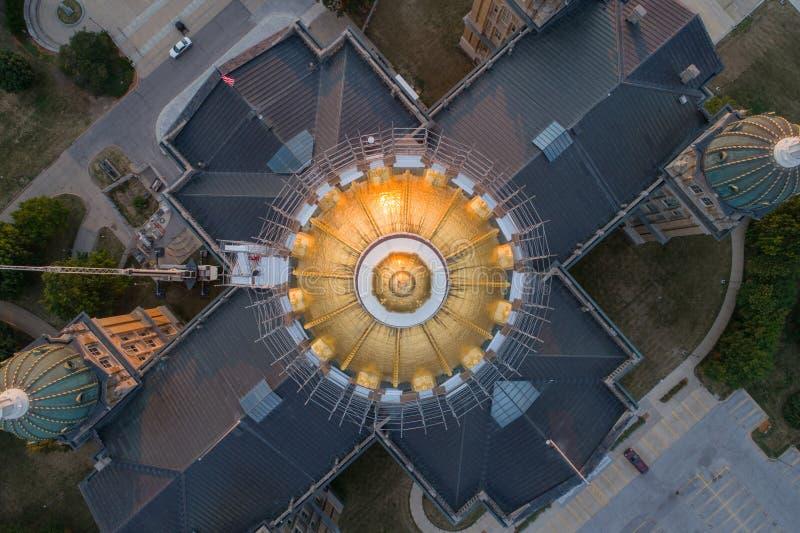 Vue aérienne directe de capitol d'état de l'Iowa photos libres de droits