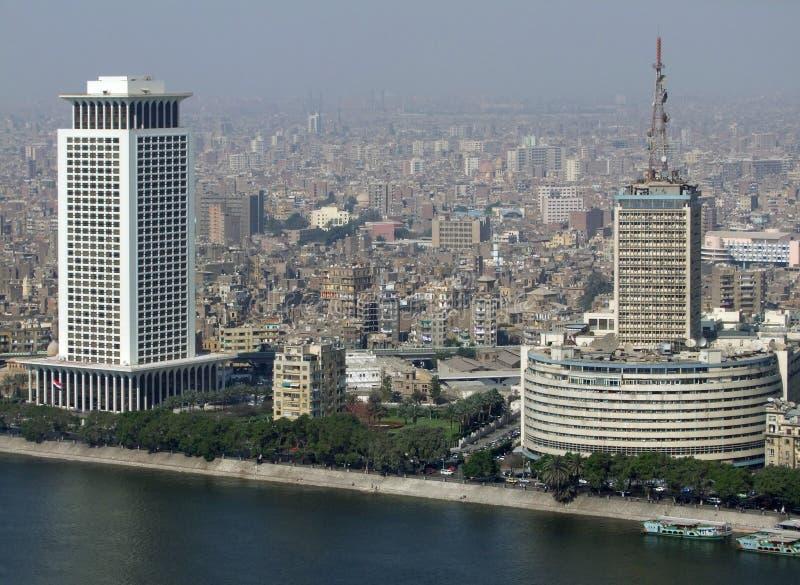 Vue aérienne du Caire avec le Nil image libre de droits