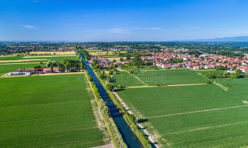 Vue aérienne du canal du Rhône - du Rhin en Alsace, France photo stock