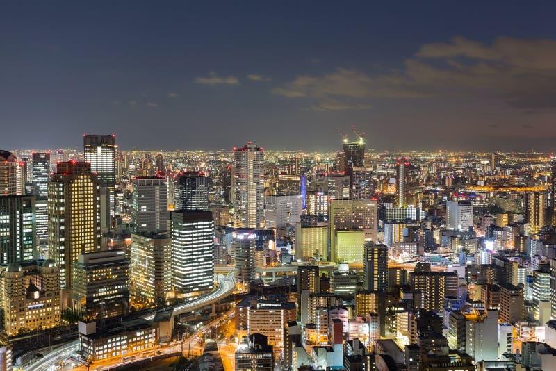 Download Vue Aérienne Du Centre D'affaires Centrales De Ville D'Osaka Image stock - Image du foncé, lumière: 87707379