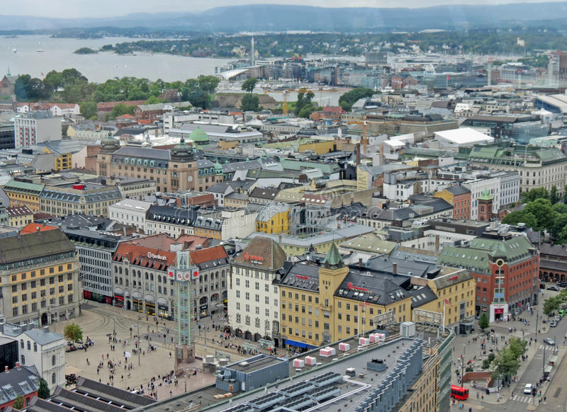 Vue aérienne du centre de la ville d'Oslo images libres de droits