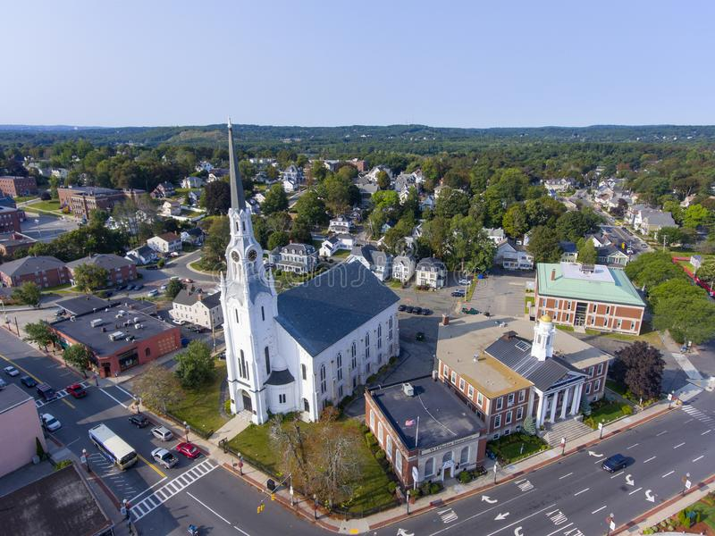 Vue aérienne du centre de Woburn, le Massachusetts, Etats-Unis photo libre de droits