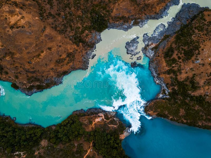Vue aérienne du confluent de la rivière de Baker photos libres de droits