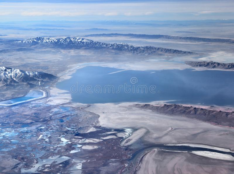 Vue aérienne du Grand Lac Salé, Utah image libre de droits