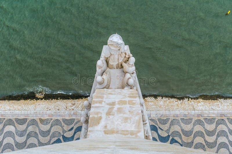 Vue aérienne du monument des découvertes à Lisbonne, Portugal photo stock
