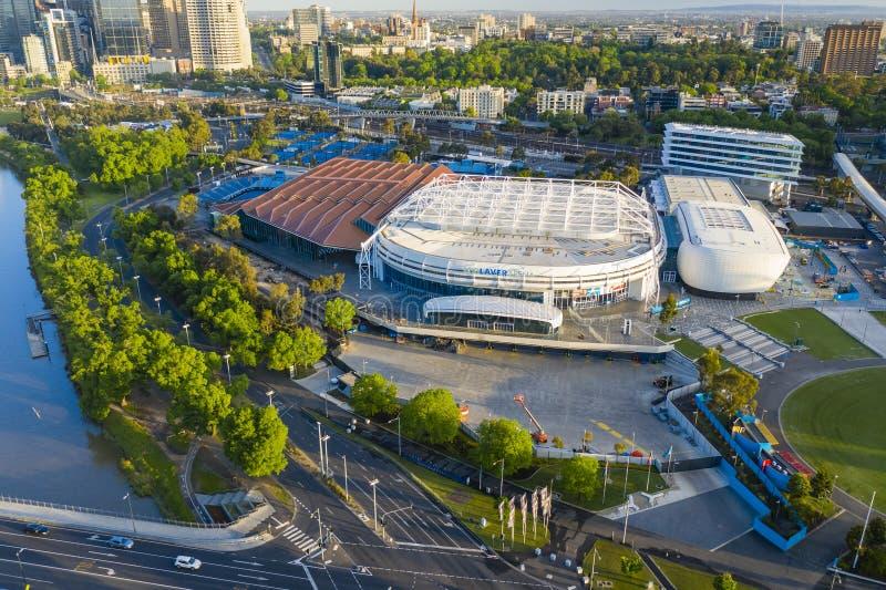 Vue aérienne du parc de Melbourne, maison du tournoi de tennis d'open d'Australie image libre de droits