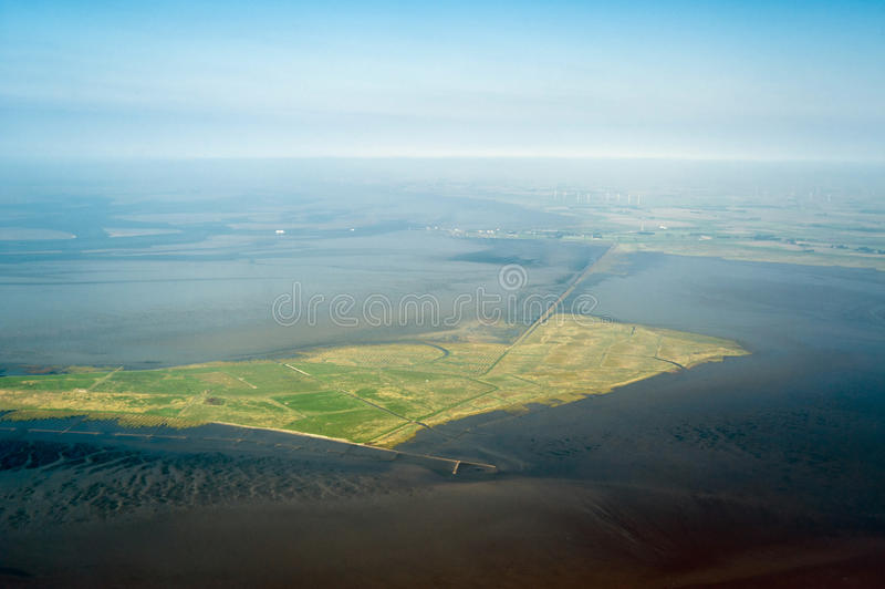 Vue aérienne du parc national de l$mer des Wadden du Schleswig-Holstein image stock