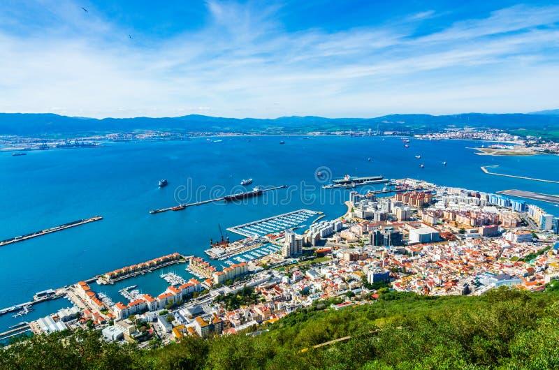 Vue aérienne du port au Gibraltar photo stock