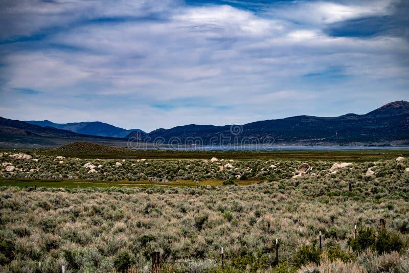 Vue aérienne du ranch de Hunewill près de Bridgeport, la Californie photo stock