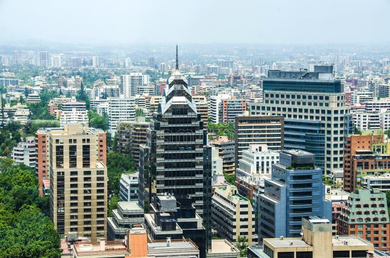 Vue aérienne du secteur financier chez Santiago de Chile photos libres de droits