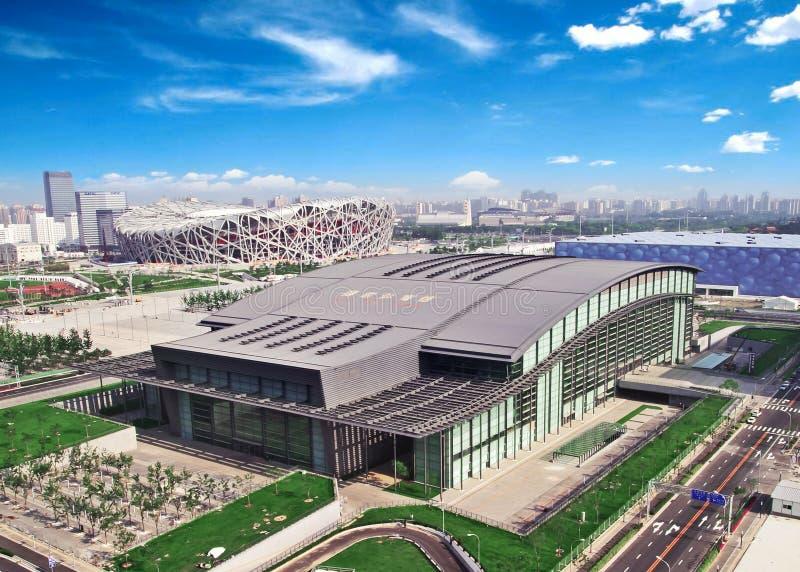 Vue Aérienne Du Stationnement Olympique De Pékin Image stock éditorial