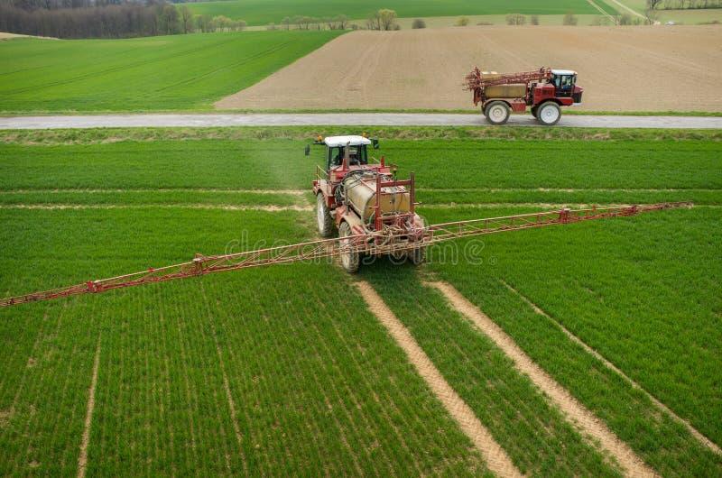 Vue aérienne du tracteur images libres de droits
