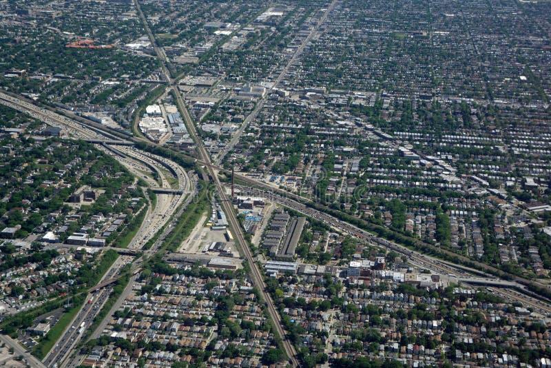 Vue aérienne du trafic de Chicago photo stock