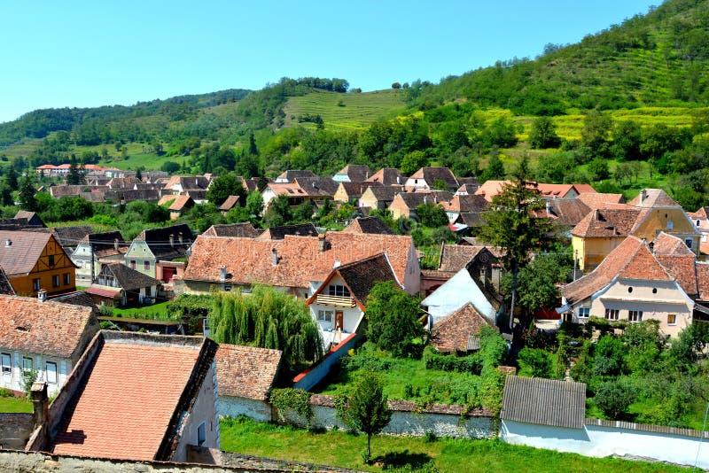 Vue aérienne du village Biertan, la Transylvanie photographie stock
