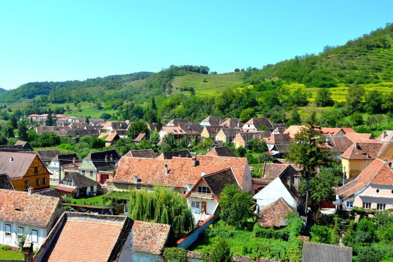 Vue aérienne du village Biertan, la Transylvanie image libre de droits