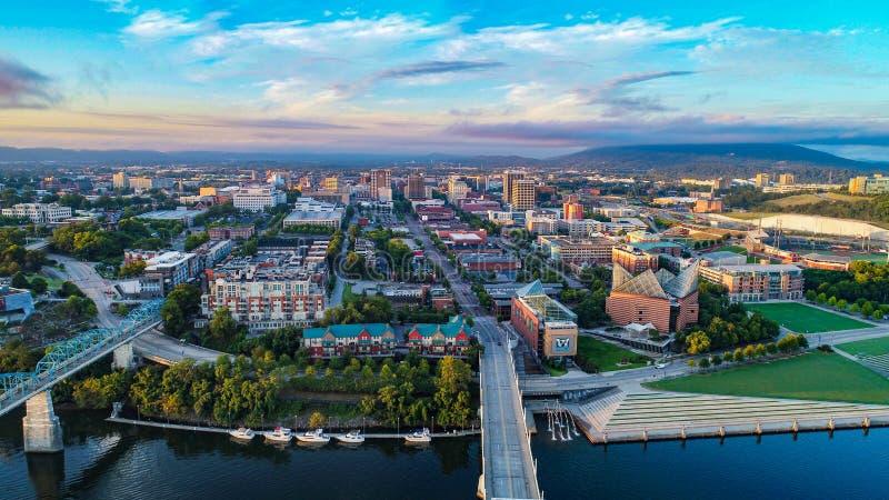 Vue aérienne horizon de Chattanooga, Tennessee, Etats-Unis photos libres de droits