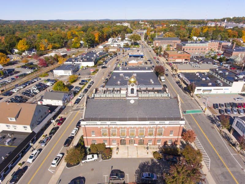 Vue aérienne Newton, mA, Etats-Unis de bâtiments historiques photos stock