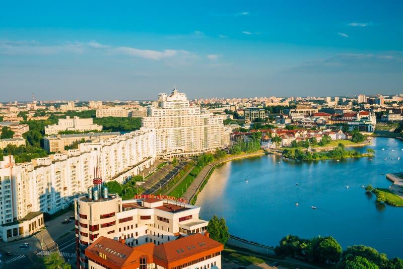Vue aérienne, paysage urbain de Minsk, Belarus photographie stock libre de droits