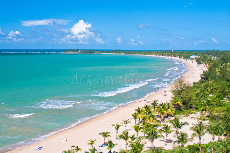 Vue aérienne, plage du Porto Rico photo stock