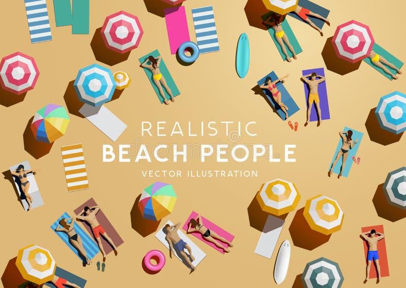 Vue aérienne supérieure des personnes des vacances de plage illustration libre de droits