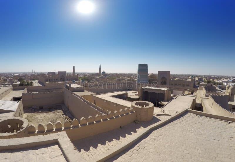 Vue aérienne sur des rues de la vieille ville uzbekistan Khiva image stock