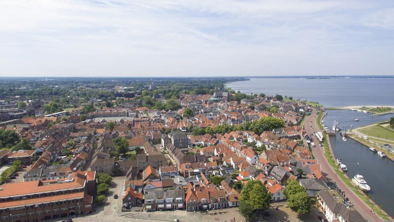 Vue aérienne sur Harderwijk image stock