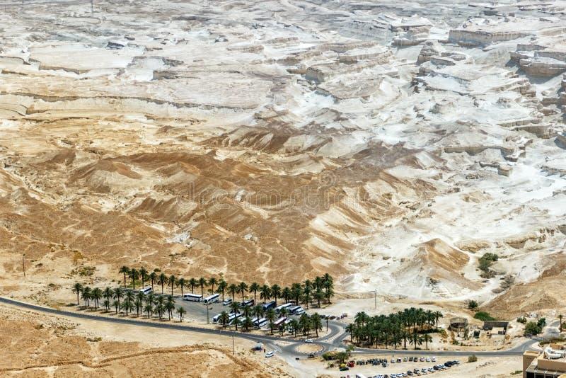 Vue aérienne sur l'oasis de paume dans le deser sec de Judaean de grès photo libre de droits