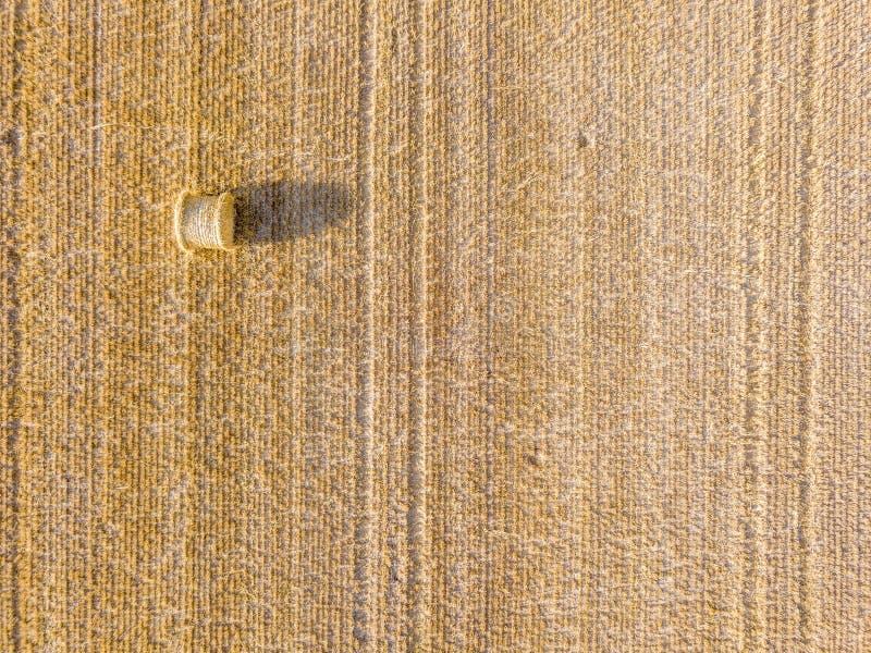 Vue aérienne sur la meule de foin sur un champ de blé photos stock