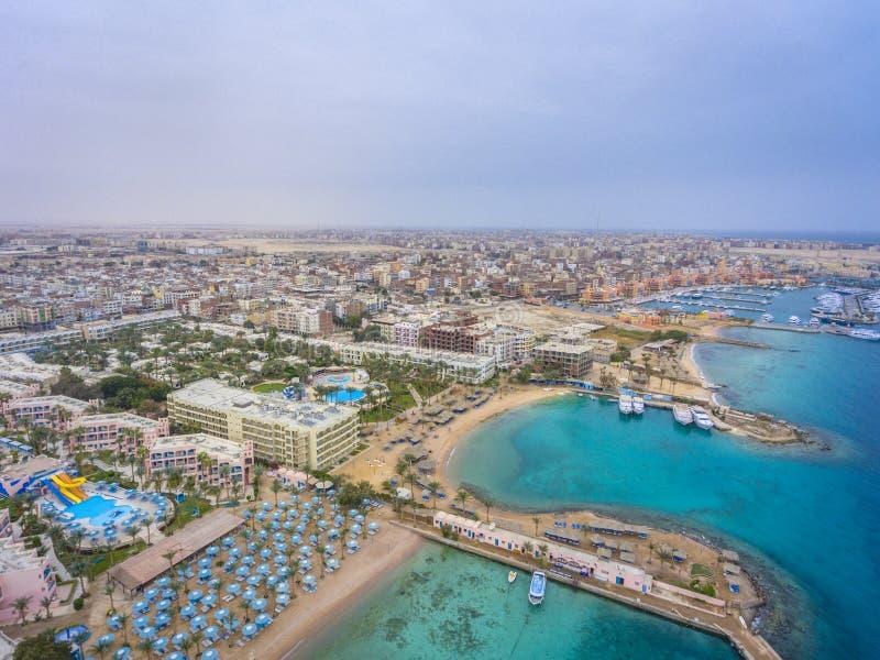 Vue aérienne sur la ville de Hurghada, Egypte photo libre de droits