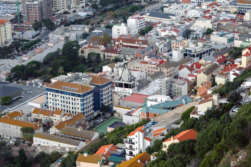 Vue aérienne sur la ville du Gibraltar, territoire d'outre-mer britannique photo stock