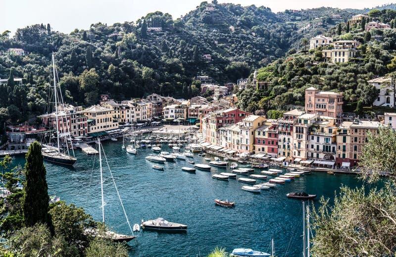Vue aérienne sur le compartiment de Portofino photos libres de droits