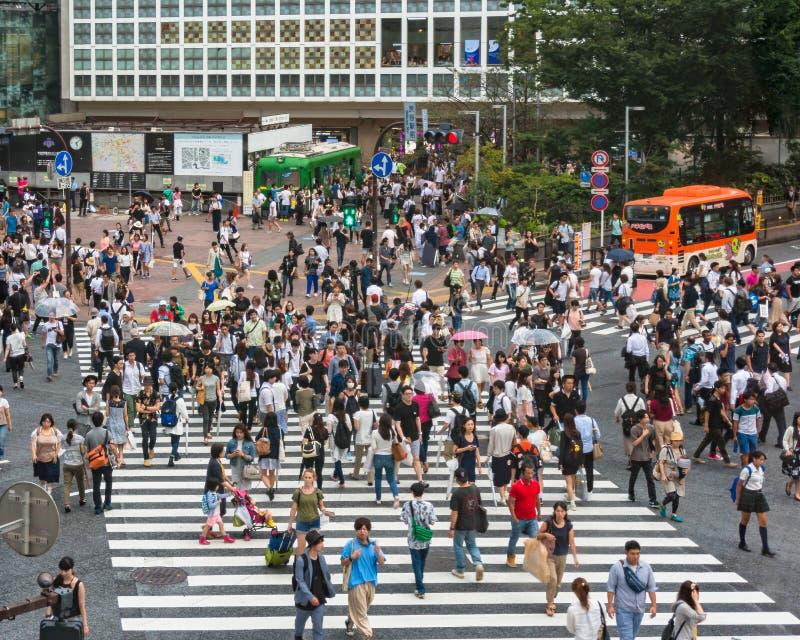 Vue aérienne sur le croisement célèbre de Shibuya à Tokyo photo stock