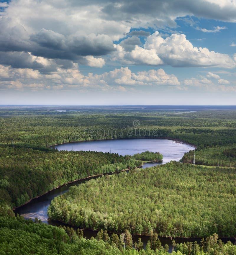 Vue aérienne sur le lac dans la forêt photo stock