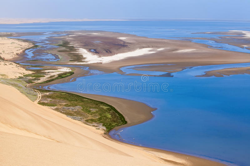 Vue aérienne sur le port de sandwich en Namibie photo libre de droits