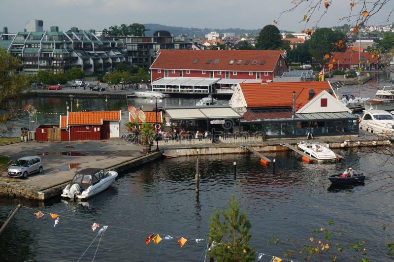 Vue aérienne sur le port Kristiansand, Norvège photographie stock libre de droits