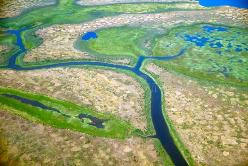 Vue aérienne sur les paysages du nord de Yakutia images libres de droits